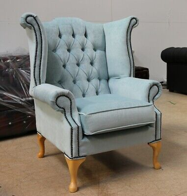 Georgian Chesterfield Queen Anne Buttoned High Back Wing Chair Duck Egg Blue Yew