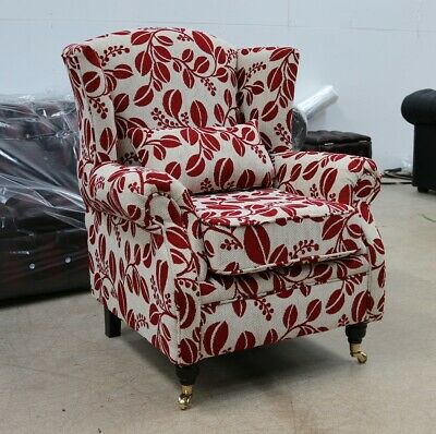 Oberon Fireside High Back Wing Chair Lillie Red Fabric