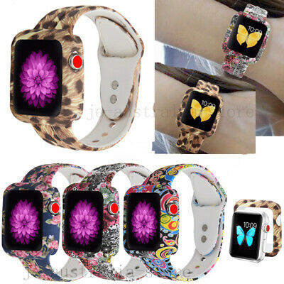 Apple Watch Series 4 3 2 5 Printed Frame Case+ Silicone Band Wrist Strap 38-44mm