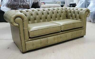 Chesterfield Tufted Buttoned 2 Seater Sofa Couch Real Aged Olive Green Leather