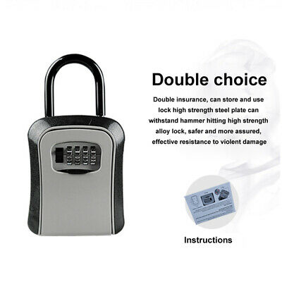 Wall Mounted Secure Key Lock Box Outdoor Safe Lock Case with 4-Digit Organizer