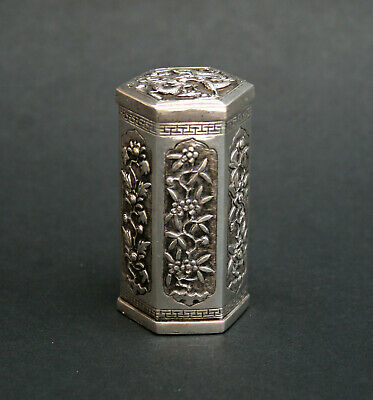Antique Chinese Silver Opium Container - French Flea Market Find
