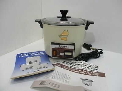 Rice Cooker Food Steamer Vintage Hitachi Chime-O-Matic Almond