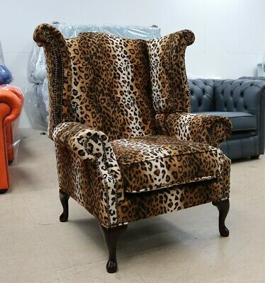 Georgian Chesterfield Queen Anne High Back Wing Chair Cheetah Animal Print