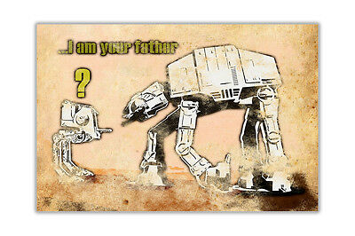 "Star Wars At-At Walker And Child ""I am your father"" By Banksy Art Poster Prints"