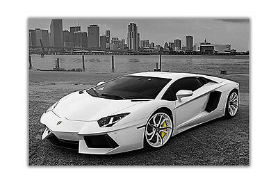 White Lamborghini Sports Car Poster Wall Art Prints House Decor Gloss Pictures