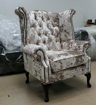 Georgian Chesterfield Queen Anne High Back Wing Chair Charm Crushed Velvet