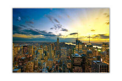 Sunset Over New York City Poster Art Wall Prints Home Office Decoration Pictures