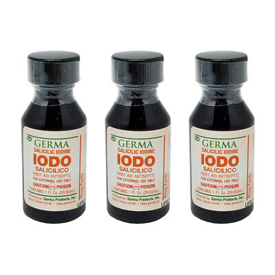 Germa Salicilic Iodine First Aid Antiseptic. Wound Disinfectant. 1 Oz. Pack of 3