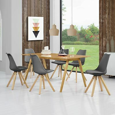 [en.casa]® Dining Table with 6 Chairs GREY lacquered Bamboo 180x80cm SET Retro