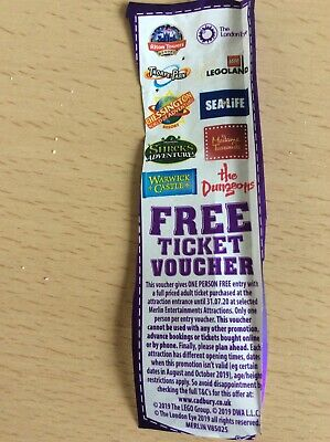 Cadburys Merlin Free ticket voucher Alton towers Thorpe Park Lego land 2 For 1