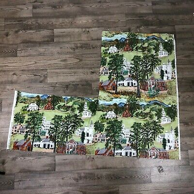 Vintage Riverdale Fabric Remnent Grandma Moses Williamstown American