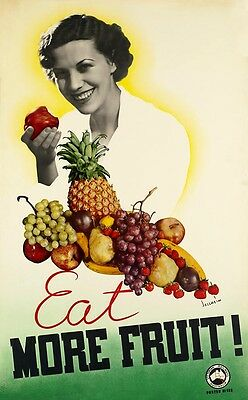 Australia Victorian Railways Eat More Fruit - vintage old repro travel poster