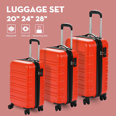 3Pcs ABS Trolley Carry On Travel Luggage Set Bag Spinner Suitcase w/Lock Orange