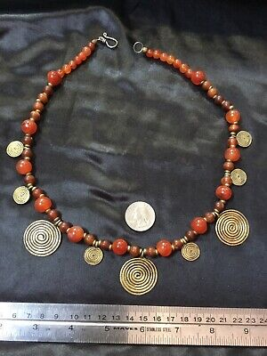 Rare Antique African Tribal Ethnic Necklace Coin Gold Carnelian Beads jewelry