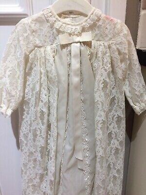 Vintage Christening Dress White Lace Infants