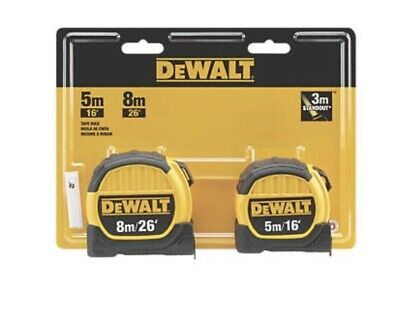 DeWalt 5m & 8m Tape Measures Metric 2 x tape measures 5m and 8m NEW IMPROVED