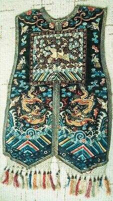 Antique Chinese Qing Dynasty Rare Formal Vest Rank Badge And Dragons Front Only
