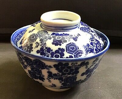Antique Oriental Hand Painted Blue & White Imari Rice Bowl & Cover