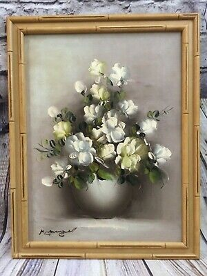 Vintage Framed Oil Painting White and Pale Yellow Roses in Vase Signed by Artist