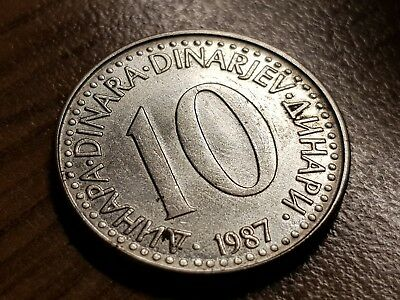 10 Dinara 1987 Excellent condition coin Yugoslavia