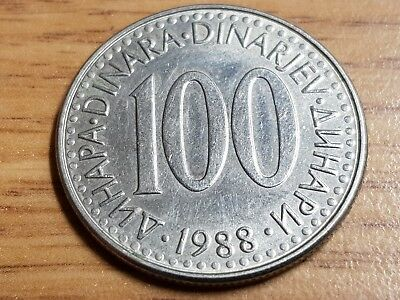 100 Dinara Yugoslavia excellent condition coin 1988