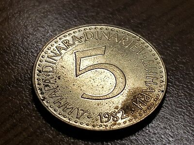5 Dinara 1982 Excellent condition coin Yugoslavia