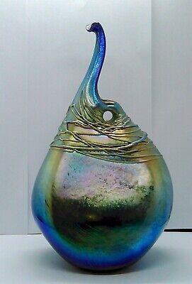 LOREN CHAPMAN FREE FORM Studio Modernist ART GLASS VASE  SIGNED