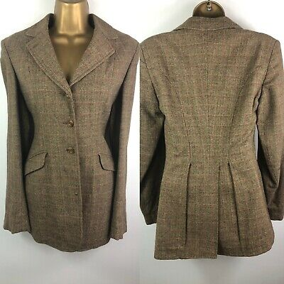 VINTAGE TWEED CHECK RIDING JACKET COAT 40s VICTORIAN Size 8 10 30s 50s VAMP
