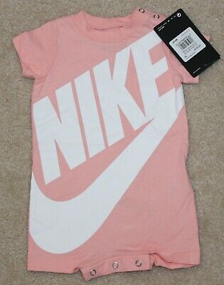 newest be4fb 67284 Baby Girls Nike Summer Outfit (Romper  Swoosh  Pink White)
