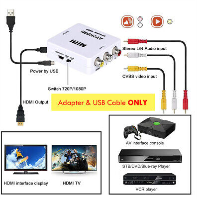 Mini RCA AV to HDMI Converter Adapter Composite AV2HDMI Converter 1080P HDTV DVD