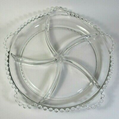 Imperial Glass CANDLEWICK Clear Round 5-Section Relish Dish Tab Handles Swirl