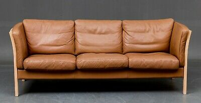 Vintage Danish Three Seater Leather Sofa by Stouby