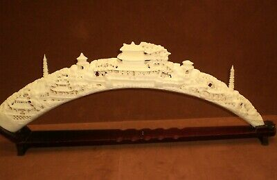 """Large Vintage  FISHBONE AND RESIN CARVED TUSK, PAGODA, Chinese Art 30"""" x 10 1/2"""""""