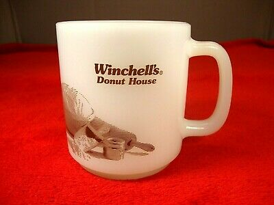 Vintage Winchell's Donut House Glasbake Coffee Cup Mug Milk Glass