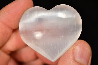 SELENITE HEART 4.5cm 35g Polished Healing Crystal Palm Stone, Protection