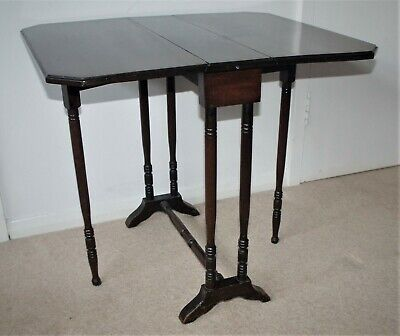 Vintage/Antique Small Drop Leaf Gate-Leg Dark Wood Sofa Table~~BN5 9NP~~