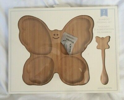 Pottery Barn Kids Butterfly Bamboo Feeding Set NWT