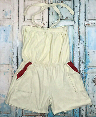 bdae5c40cf Vintage 70's Yellow Terry Cloth Romper Playsuit Swim Coverup 1970's Sz L