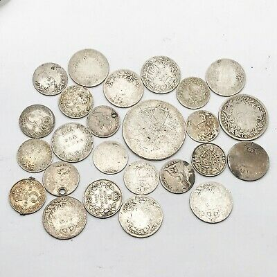 ANTIQUE VINTAGE JOB LOT SCRAP SILVER COINS SIX THREE PENCE 59g STERLING