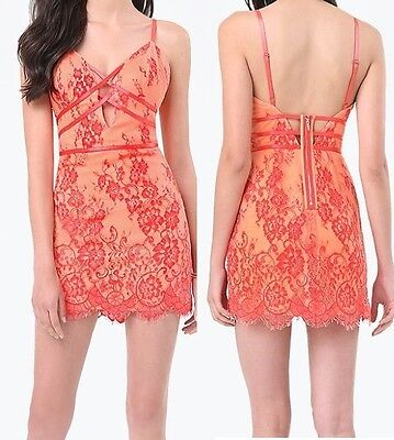 NWT bebe coral red lace floral cutout deep v neck bustier top dress S / M size 6