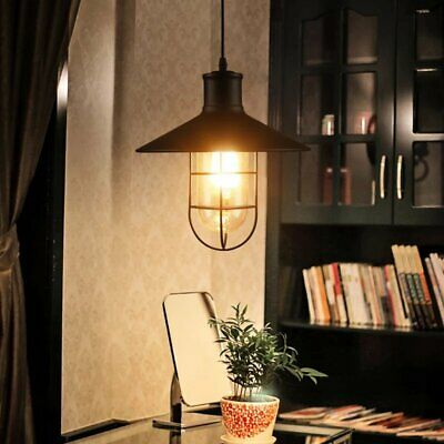 Industrial Edison Barn Warehouse Glass Cage Pendant Light Kitchen Waterproof