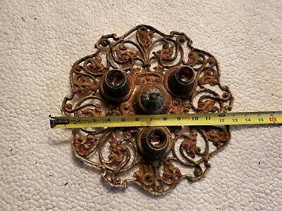 VTG Antique 3-Bulb Art Deco Metal Hanging Ceiling Light Fixture