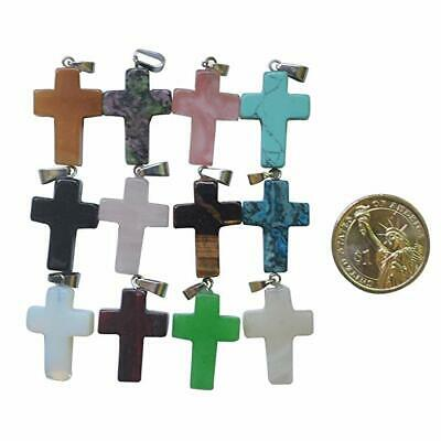 Cross Natural Stone Quartz Charms Pendant Necklace Women/Men Jewelry Choker Gift