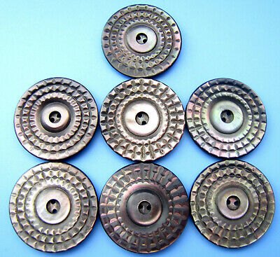 STUNNING Vintage Antique Carved Smoked Mother of Pearl MOP Buttons Lot of 7