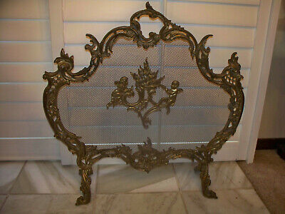 Antique French Louis XV Ornate Rococo Brass/Bronze? Fireplace Fire Screen