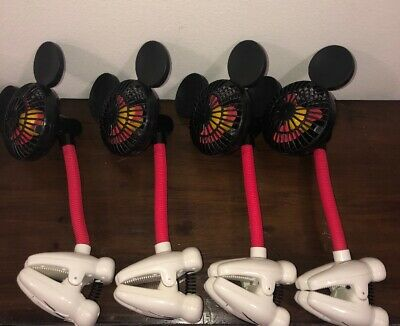 Disney Parks Lot 4 Mickey Mouse Ears Battery Operated Stroller Clip On Fan Toy