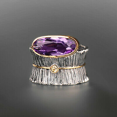 Turkish Handmade Jewelry Amethyst Gems 925 Silver Band Ring Women Wedding Sz6-10