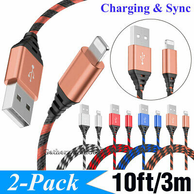 2 Pack 10Ft Lightning Cable For iPhone X 8 7 6 5 Heavy Charging Cord USB Charger