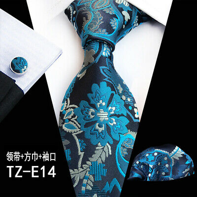 Men's 100% Silk Tie Wedding JACQUARD WOVEN Blue Flora Pocket Square Cufflink Set